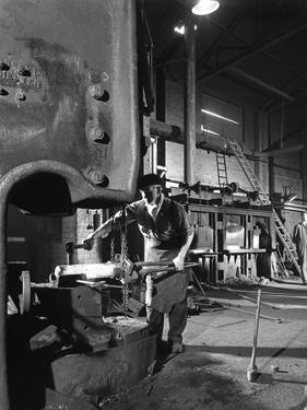 Forging Pins at Edgar Allens Steel Foundry, Sheffield, South Yorkshire, 1963 by Michael Walters