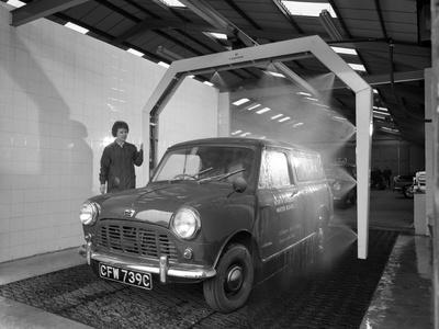 Mini Van Being Washed in a Car Wash, Co-Op Garage, Scunthorpe, Lincolnshire, 1965