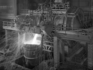 Pouring Molten Iron, Park Gate Steelworks, Rotherham, South Yorkshire, 1964 by Michael Walters
