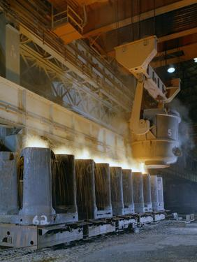 Teeming (Pouring) Steel Ingots, Park Gate Iron and Steel Co, Rotherham, South Yorkshire, 1965 by Michael Walters