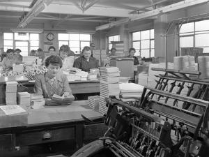 The Binding Room at the White Rose Press Printing Co, Mexborough, South Yorkshire, 1959 by Michael Walters