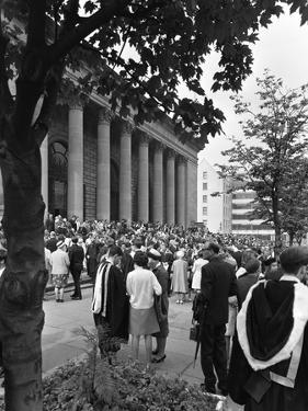 University Graduates Outside Sheffield City Hall, South Yorkshire, 1967 by Michael Walters