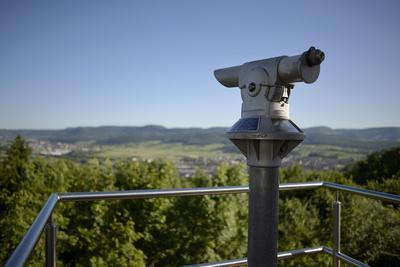 coin-operated binoculars with view to Swabian Alps, Salach, Baden-Wurttemberg, Germany