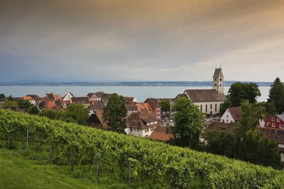 view to Meersburg with town church on the Lake of Constance, Baden-Wurttemberg, Germany