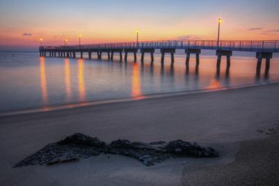 Woodland Beach Fishing Pier Dawn by michaelmill
