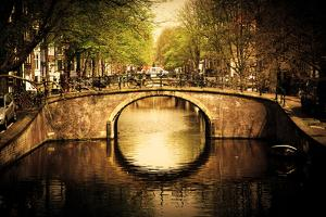 Amsterdam, Holland, Netherlands. Romantic Bridge over Canal. Old Town by Michal Bednarek