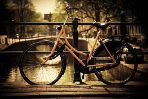 Amsterdam, Holland, Netherlands. Romantic Canal Bridge, Retro Bike. Old Town by Michal Bednarek