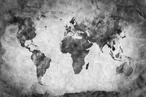 Ancient, Old World Map. Pencil Sketch, Grunge, Vintage Background Texture. Black and White by Michal Bednarek