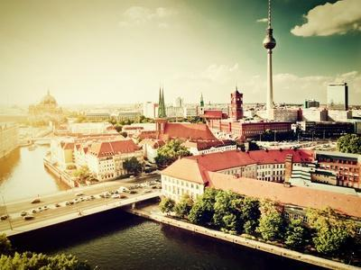 Berlin - Rotes Rathau And The River Spree