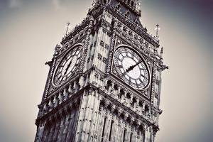 Big Ben, the Bell of the Clock close Up. the Famous Icon of London, England, the Uk. Black and Whit by Michal Bednarek