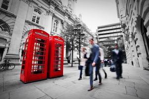 Business Life Concept in London, the Uk. Red Phone Booth, People in Suits Walking by Michal Bednarek