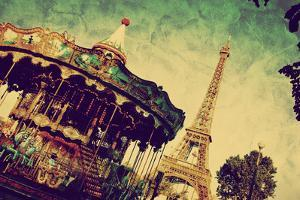 Eiffel Tower and Vintage Carousel, Paris, France. Retro Style by Michal Bednarek