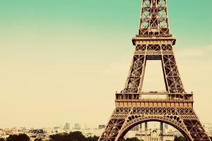 Eiffel Tower Middle Section, the City in the Background, Paris, France. Vintage, Retro Style by Michal Bednarek
