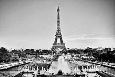 Eiffel Tower Seen from Fountain at Jardins Du Trocadero at a Sunny Summer Day, Paris, France. Black by Michal Bednarek