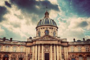 Institut De France in Paris. Famous Cupola, Dome of the Building against Clouds. by Michal Bednarek