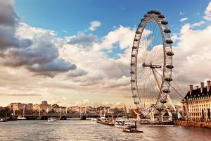 London, England the UK Skyline in the Afternoon. the London Eye on River Thames by Michal Bednarek