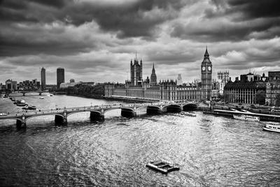 London, The Uk. Big Ben, The Palace Of Westminster In Black And White. The Icon Of England
