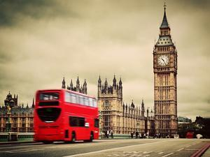 London, the Uk. Red Bus in Motion and Big Ben, the Palace of Westminster. the Icons of England in V by Michal Bednarek