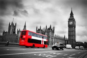 London, the Uk. Red Bus in Motion and Big Ben, the Palace of Westminster. the Icons of England by Michal Bednarek
