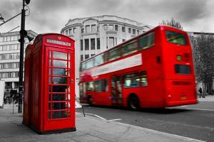 London, the Uk. Red Phone Booth and Red Bus in Motion. English Icons by Michal Bednarek