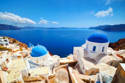 Oia Town on Santorini Island, Greece. Aegean Sea by Michal Bednarek