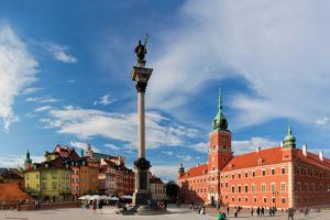 Panorama of the Old Town in Warsaw, Poland. the Royal Castle and Sigismund's Column Called Kolumna by Michal Bednarek