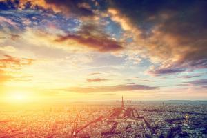 Paris, France Skyline, Panorama at Sunset. View on Eiffel Tower, Champ De Mars by Michal Bednarek