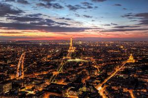 Paris, France Skyline, Panorama at Sunset, Young Night. View on Eiffel Tower, Champ De Mars by Michal Bednarek