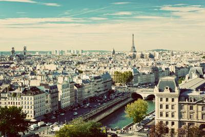 Paris Panorama, France. View on Eiffel Tower and Seine River from Notre Dame Cathedral. Vintage, Re