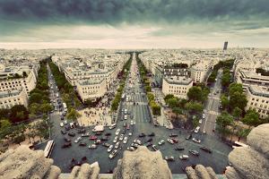 Paris Skyline - Avenue Des Champs-Elysees. View from Arc De Triomphe, Paris, France. Vintage, Retro by Michal Bednarek