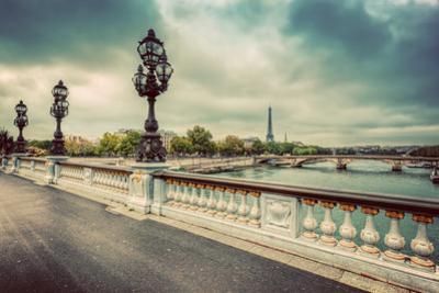 Pont Alexandre III Bridge in Paris, France. Seine River and Eiffel Tower. Vintage by Michal Bednarek