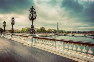 Pont Alexandre III Bridge in Paris, France. Seine River and Eiffel Tower. Vintage by Michal Bednarek