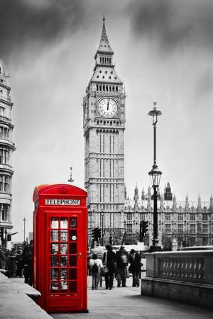 Red Telephone Booth and Big Ben in London, England, the Uk. People Walking in Rush. the Symbols of