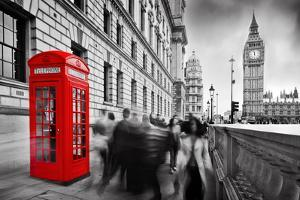 Red Telephone Booth and Big Ben in London, England, the Uk. People Walking in Rush. the Symbols of by Michal Bednarek