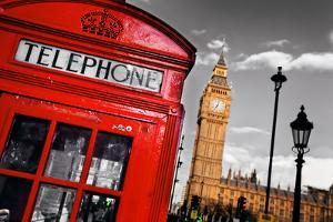 Red Telephone Booth and Big Ben in London, England, the Uk. the Symbols of London on Black on White by Michal Bednarek