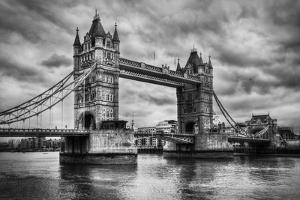 Tower Bridge In London, The Uk. Black And White, Artistic Vintage, Retro Style by Michal Bednarek