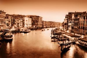 Venice, Italy. Gondola Floats on Grand Canal, Italian Canal Grande at Sunset. View from Rialto Brid by Michal Bednarek