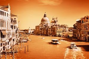 Venice, Italy. Grand Canal and Basilica Santa Maria Della Salute at Sunny Day. View from Ponte Dell by Michal Bednarek