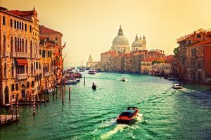 Venice, Italy. Grand Canal and Basilica Santa Maria Della Salute at Sunset. View from Ponte Dell Ac by Michal Bednarek