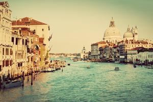 Venice, Italy. Grand Canal and Basilica Santa Maria Della Salute in the Afternoon. Vintage, Retro S by Michal Bednarek