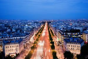 View on Avenue Des Champs-Elysees from Arc De Triomphe at Night Paris, France by Michal Bednarek