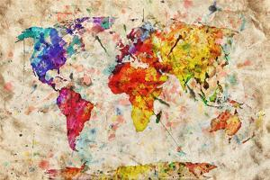 Vintage World Map. Colorful Paint, Watercolor, Retro Style Expression on Grunge, Old Paper. by Michal Bednarek