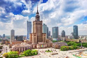 Warsaw, Poland. Aerial View Palace of Culture and Science and Downtown Business Skyscrapers, City C by Michal Bednarek