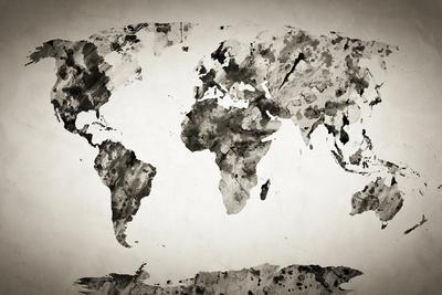 Watercolor World Map. Black and White Paint on Paper, Retro Style. HD Quality