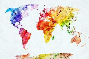 Watercolor World Map. Colorful Paint on White Paper. HD Quality by Michal Bednarek