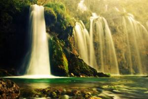 Waterfall in Forest. Crystal Clear Water. Plitvice Lakes, Croatia by Michal Bednarek
