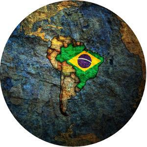 Brazil Flag On Globe Map by michal812