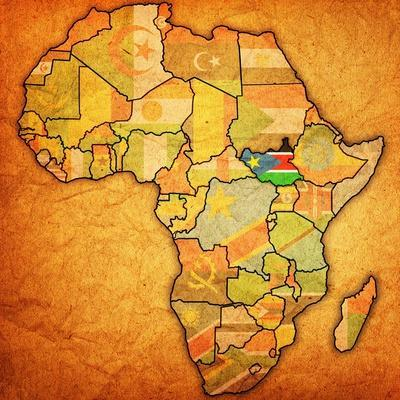 South Sudan on Actual Map of Africa