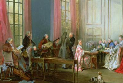 The Young Mozart at the Clavichord, Detail from Le the a L'Anglaise by Michel Barthélémy Ollivier