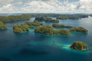 Aerial View of Rock Islands of Palau, Micronesia by Michel Benoy Westmorland